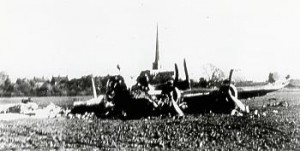 Halifax bomber in 1945